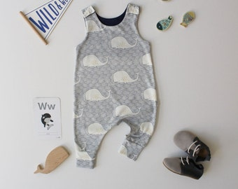 Harem Romper - Whale Tales - READY TO SHIP by Little Dreamer