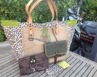 """Bag large tote bag """"The parrot"""" spirit Saint Tropez"""