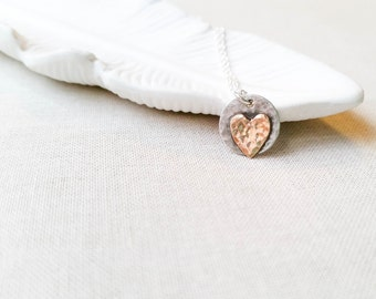 Hammered Heart Artisan Pendant Necklace - Mixed Metal 14k Gold Fill Heart on Sterling Silver Disc Heart Charm Valentine Gift Love Necklace