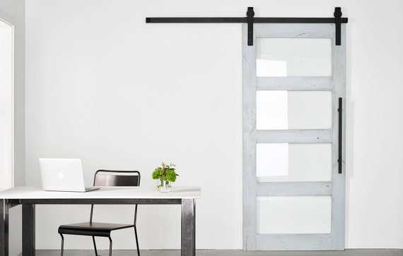 Glass Paneled Modern/Industrial Barn Door