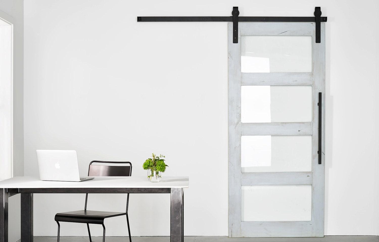 Glass Paneled ModernIndustrial Barn Door