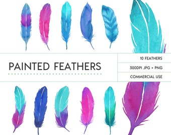 Bright Watercolor Feathers Clip Art
