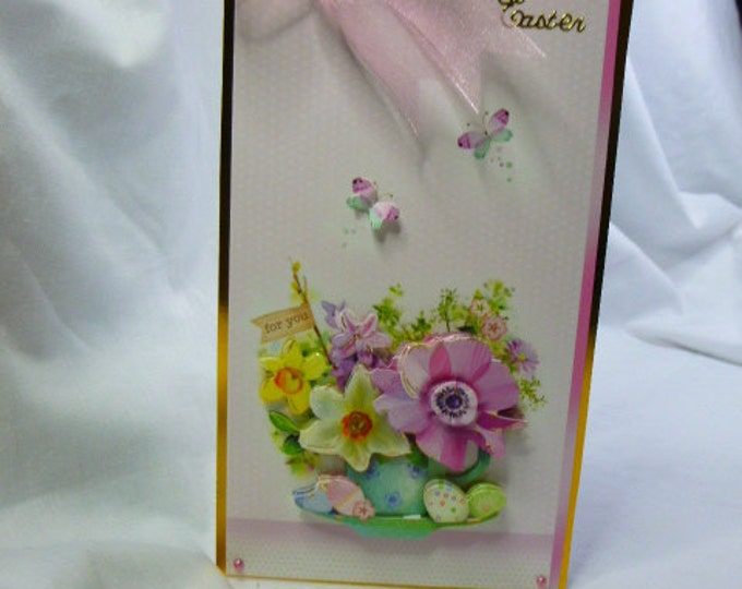 3D decoupage, Easter Card, Greeting Card, Flowers in Tea Cup, Butterflies, Female of Any Age, Mum, Sister, Niece