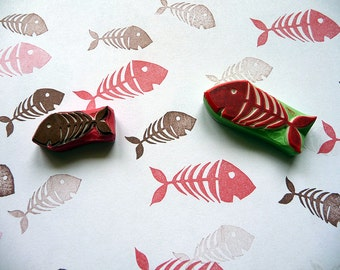 Fish Bones Rubber Stamp, Craft Stamp, Fish Stamp, Hand Carved Stamps, Scrapbooking