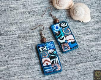 Everyday Earrings Mosaic Earrings Art jewelry Abstract Earrings Geometric Boho Earrings Rustic Earrings Girlfriend Unique Gift Woman