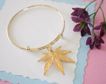 Gold Leaf Bangle, Real Leaf Bracelet, Gold Japanese Maple, Gold Brass, Leaf Bangle, Bracelet, Bridesmaid Gift, Gift, Japanese Maple