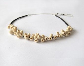 Minimal polymer clay elegant  flower necklace. nO.240 Frozen Berries between onyx