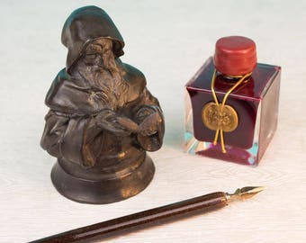 Antique Bronze Monk or Wizard Inkwell