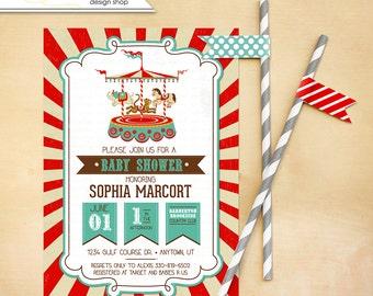 carousel or circus Baby Shower Invitation Printable