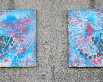 Pair of acrylic abstract painting, Abstract acrylic painting, Abstract art, Original abstract painting, Abstract wall art, Acrylic abstract.
