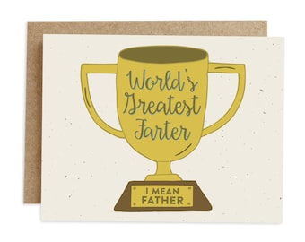 Funny Father's Day Card, Happy Father's Day, Card for Dad, Card for Father, Trophy Card, Farts Card, Greatest Father Card, Award Card