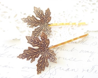 Ox Brass Maple Leaf Hair Pin Set - Maple Leaf Bobby Pins - Woodland Hair - Whimsical - Nature - Bridal Hair Accessory - Wedding Hair Pins