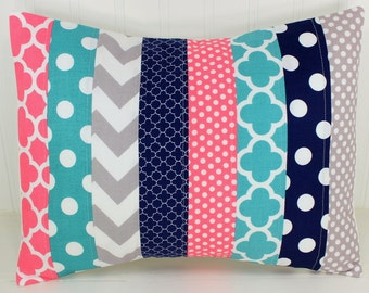 Pillow Cover, Decorative Pillows, Nursery Decor, Cushion Cover, Baby Girl, Baby Bedding, 12 x 16,  Coral Pink Navy White Gray Teal