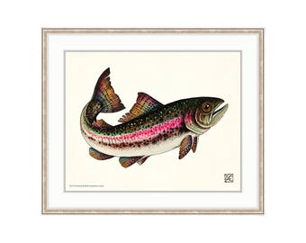 Jumping Rainbow Trout Giclee Print Of A Watercolor Painting. Steelhead. Fly Fishing Painting For The Lake House. Sport Fishing. Rod and Reel