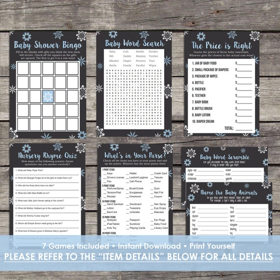 Blue snowflake baby shower game package bingo price is solutioingenieria Images