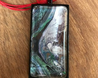 Pendant Necklace Wearable Art Jewelry Green White Abstract Rectangle Multicolor Boho Style With Red Ribbon Cord