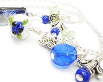Blueberries, Butterflies and Bumble Bees - Lampwork and Pewter Glass Bead Wire Wrapped Chain Bookmark