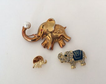 3 Elephant Pins/Brooches, Assorted