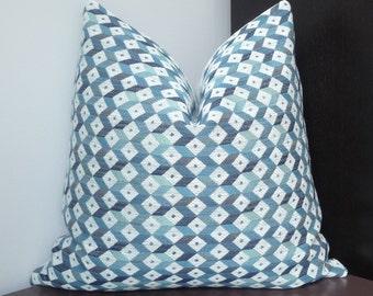 Blue, White Woven Diamond Design Throw Pillow Cover, Geometric, Designer Accent Pillow, Toss Pillows
