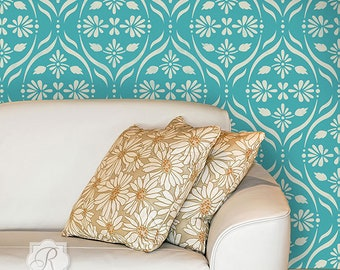 Modern Flower Trellis Wall Stencil - Decorating Bedroom or Living Room Accent Wall with Large Custom Wallpaper Art