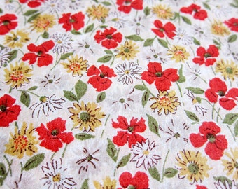 Japanese Fabric Cotton Voile - Wildflowers in Red and Yellow - Half Yard - Kokka Fabric From Japan LIMITED YARDAGE