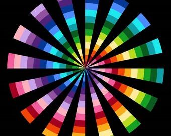 "Spiral Rainbow Northcott Quilt Fabric Panel 24"" x 44"""