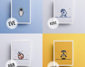 Poster / poster Robots for baby and children-Wall E - Eve - R2D2 - BB-8