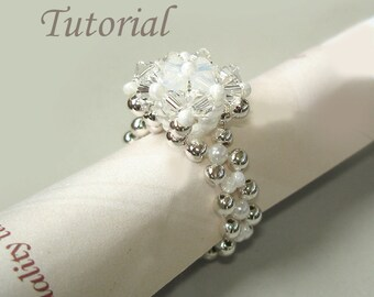 Beading Tutorial - Beaded Snow Diamond Ring Pattern
