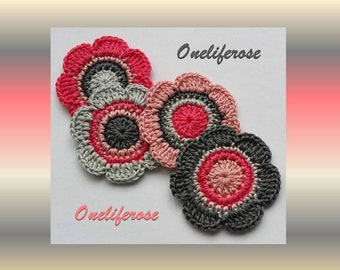 Crochet Flowers Applique 4  pieces Smoky Pink