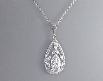 Crystal Bridal Necklace, Crystal Necklace, Crystal Pendant, Silver & Crystal Wedding Necklace, Wedding Jewelry, Bridal Jewelry,  COCO
