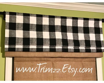 Ready To Ship......Black and White Gingham Check French Country/Farmhouse/Rustic Inspired Faux Roman Shade with Burlap band......Hand Made..
