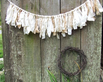 Wedding Backdrop Rag Garland, Fabric Ribbon Garland for Wedding Backdrop or Wedding Photo Booth, Glamping Decor, 3+ feet