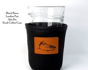 Custom Leather Pint Holder Leather Micro Brew Sleeve Bison Leather Java Coffee Pint Insulator Leather Drink Anniversary Gift Groomsmen Gift