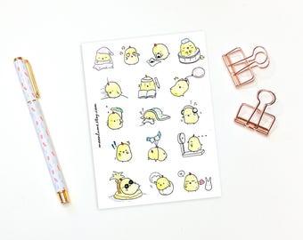 Cute planner stickers - 16 little chick planner stickers, bullet journal stickers, kawaii stickers, chore stickers, journal stickers