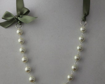 Ivory Pearl and Sage Green Ribbon Bow Necklace
