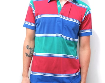 vintage 90s RUGBY soccer soft POLO STRIPED soft short sleeve shirt