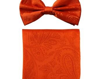 Men's Paisley Orange Pre-Tied Bowtie and Handkerchief, for Formal Occasions