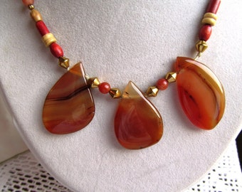 Necklace of Wooden Beads, Sunstones, and Three Freeform Agate Teardrop Focals