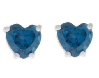 2 Ct London Blue Topaz Heart Stud Earrings .925 Sterling Silver Rhodium Finish