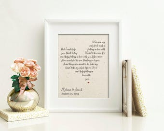Custom Song Lyric Art | Personalized Wedding Vow Art | Anniversary Gift for Her | Personalized Mens Wedding Gift | Valentine's Day Gift