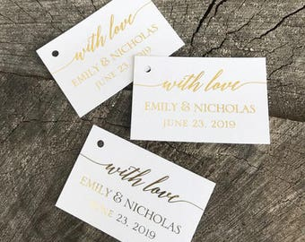 Foil Simple Modern Wedding Favor Tags - With Love Thank you tags - Personalized Wedding Gift Tags - Choose your Foil Color Tags - Set of 50