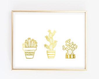 Cactus print // cactus poster // gold foil // gold cactus // gold print // posters // three cactus // nature // plants // plant print