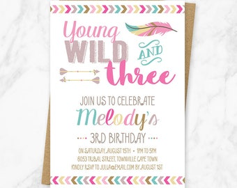 Young wild and three birthday invitation third birthday young wild and three invitation third birthday girl tribal birthday wild and three stopboris Images