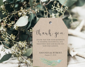Thank You Tags, Greenery Thank You, Greenery Wedding, Wedding Favor Tags Printable,  Thank You Wedding Tags, Tag Template, Thank You, BD6029