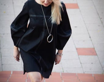 Black Tunic Dress For Women, Black Women Dress With Pockets, Cotton Dress Women, Stitching Design