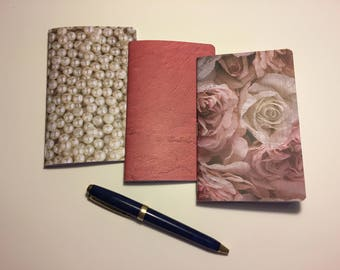 """Set of 3 Pocket Sized Traveler's Notebook Inserts """"Roses & Pearls #1"""""""