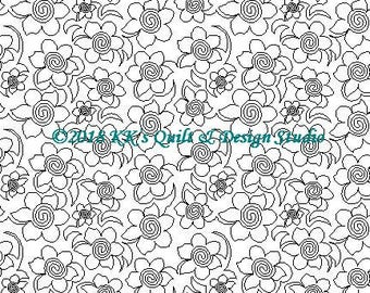 Daffodils - Longarm Digital Quilting Pattern  Edge to Edge Instant Download