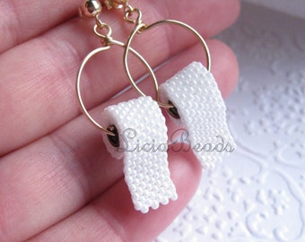 Toilet Paper earrings on sterling silver or gold plated stud posts