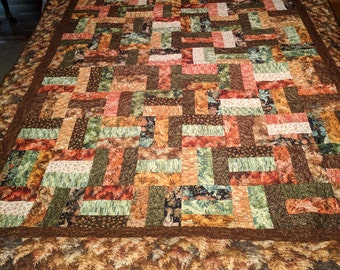 Fall Patchwork Throw Quilt