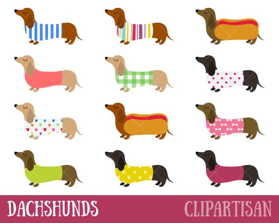 dachshunds clipart sausage dogs clip art weiner dogs rh etsy com Window Flower Boxes Clip Art Weiner Dog Outline